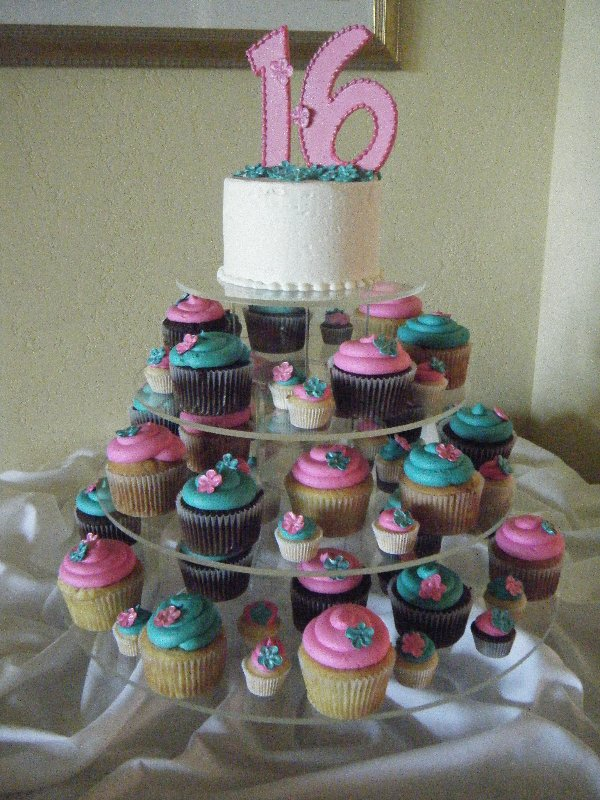 sweet-16-hot-pink-teal-cupcakes